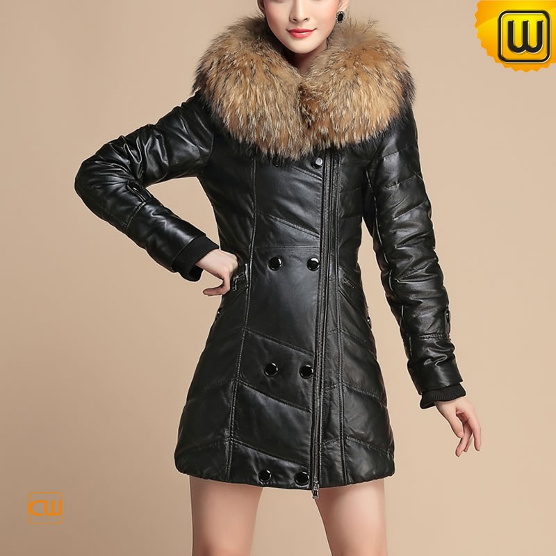 Black Fur Trimmed Leather Coat