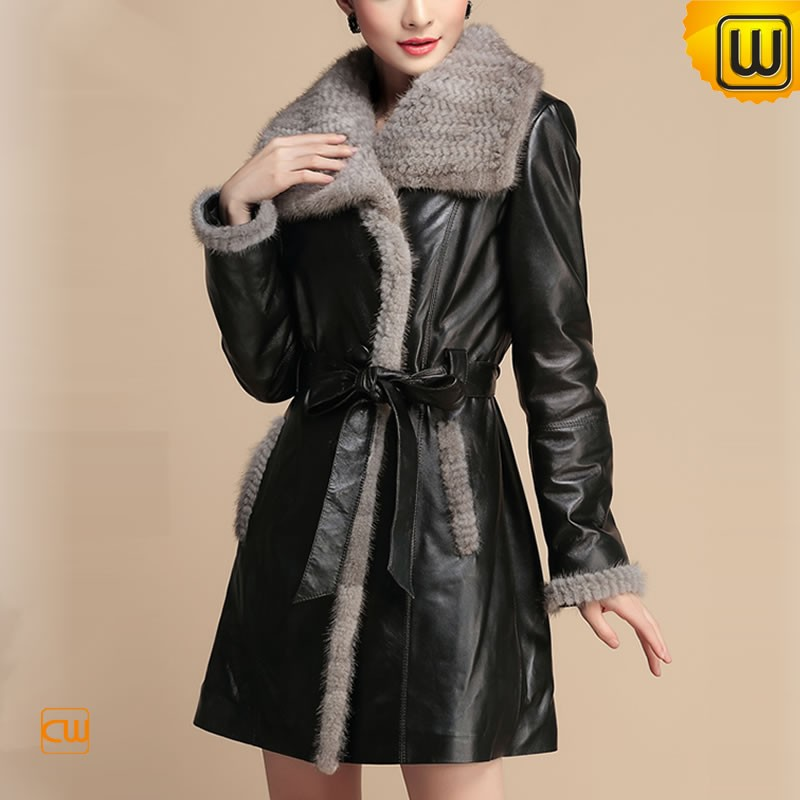 Mink Fur Trimmed Leather Coat for women