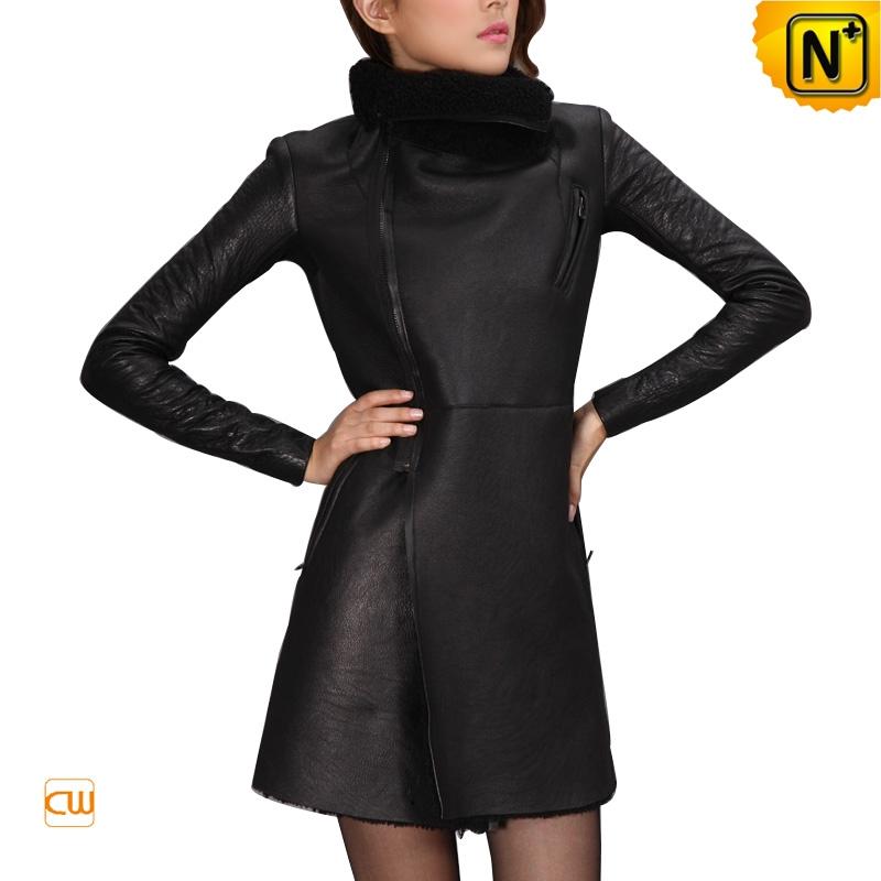 Fashion Black Sheepskin Coat for Women