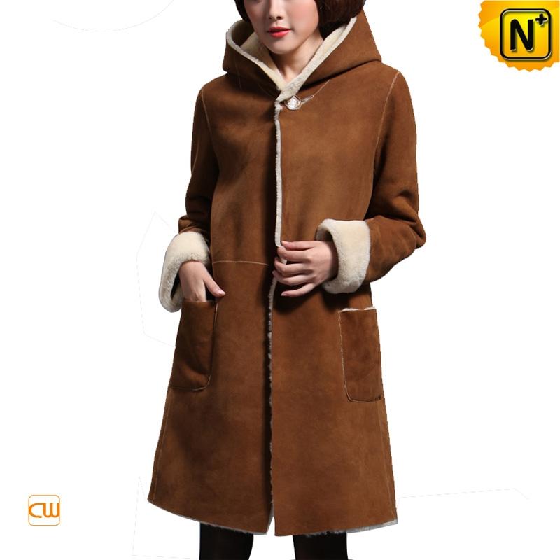 Long Hooded Sheepskin Coat for Women