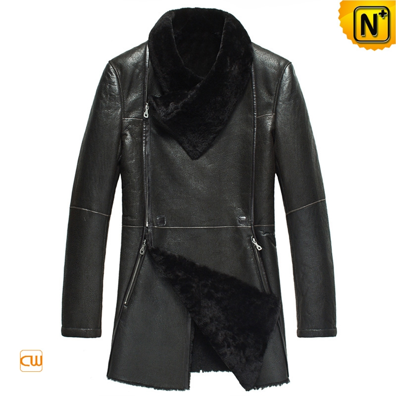 Black Fur Lined Sheepskin Coat