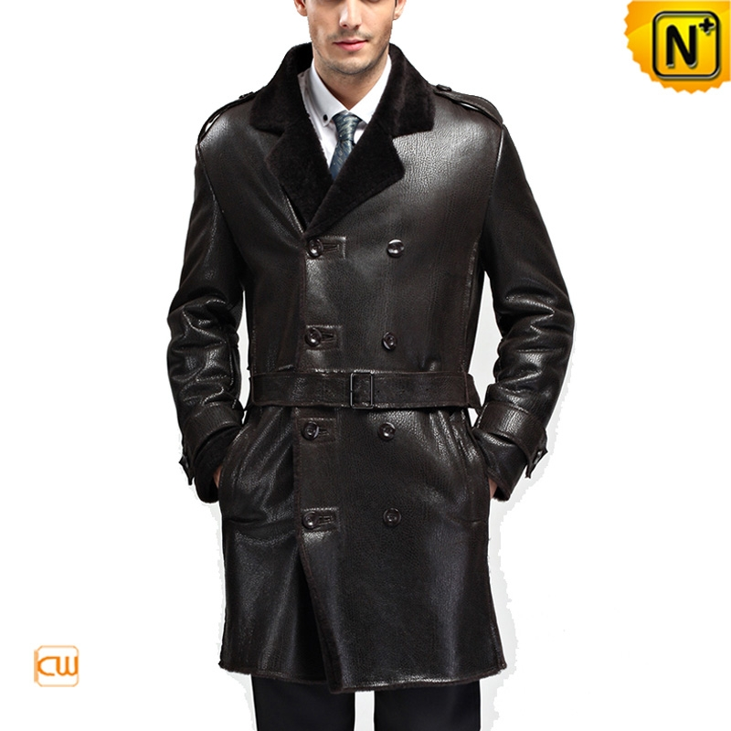 Long Double Breasted Black Sheepskin Coat for Men