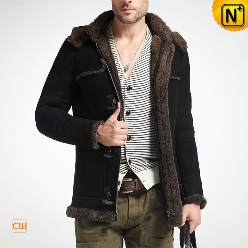 Men Sheepskin Jacket Black Auckland